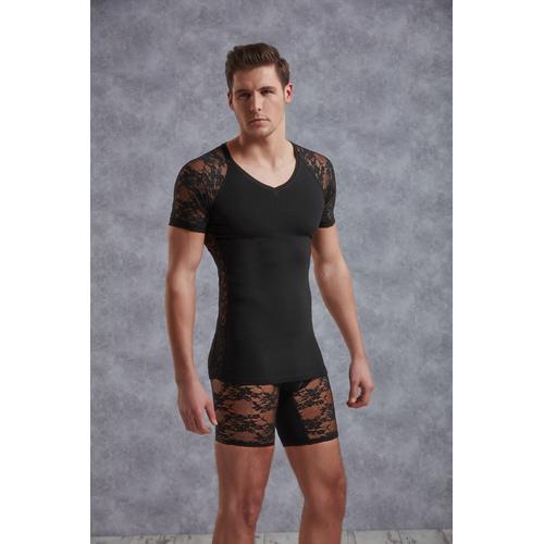 T-Shirt Met Netstof Mouwtjes – Zwart Aanbieding! van € 39.95 Voor slechts € 20.95!