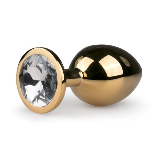 Metalen buttplug met transparante diamant – goudkleurig Aanbieding! van € 27.95 Voor slechts € 17.95!