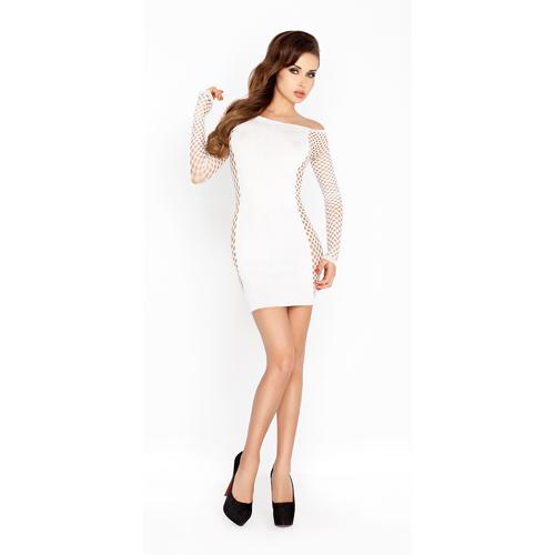 Wit mini jurkje met netstof mouwen Aanbieding! van € 14.95 Voor slechts € 9.95!
